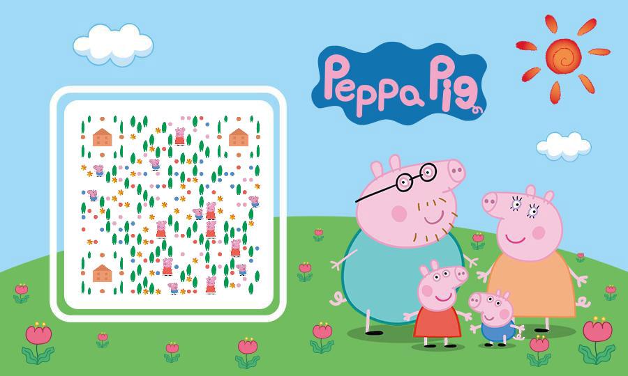 小猪佩奇卡通二维码模板