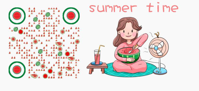 夏天女孩西瓜创意二维码